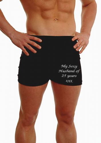 PERSONALISED MENS HIPSTER BOXER SHORTS - EMBROIDERED - ANNIVERSARY ANY MESSAGE - ON THE LEG Cotton
